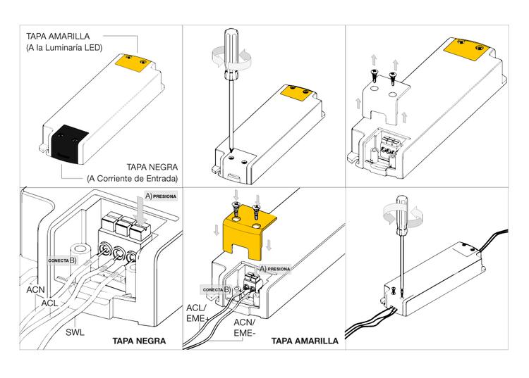 esquema instalacion kit emergencia evolu