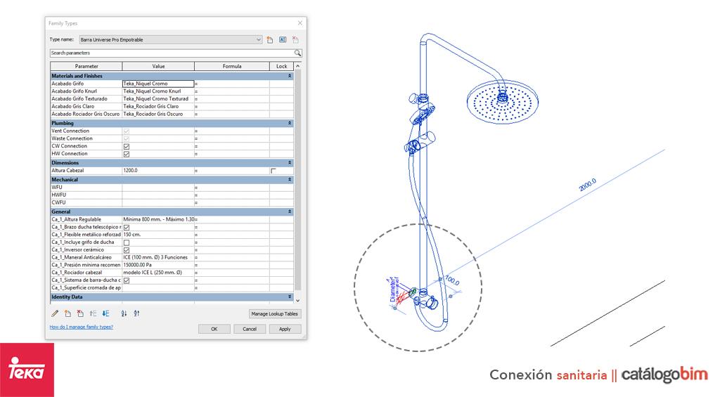 Descarga modelo de grifería para baño de Teka Modelo Barra de Ducha Universe Pro en BIM, puedes encontrar modelos 3D y familias de grifos para baño de Teka parametrizables, con texturas realistas, y conexiones de agua y alcantarillado. Descarga gratis la familia de Grifo para baño de Teka Modelo Barra de Ducha Universe Pro para su uso BIM, descargas en formatos Revit, rfa y rvt, e IFC y librerías de materiales, pronto descargas para ArchiCAD.