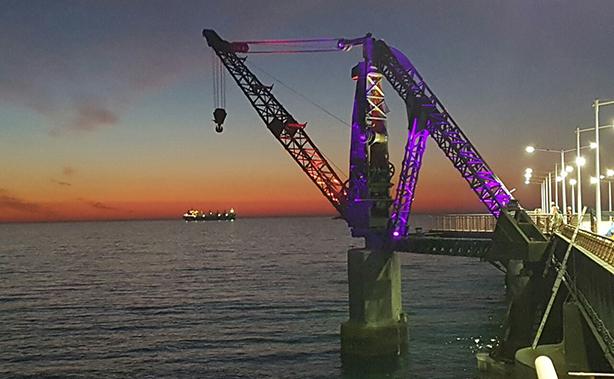 Bellos colores iluminan histórica grúa del Muelle Vergara en Viña del Mar