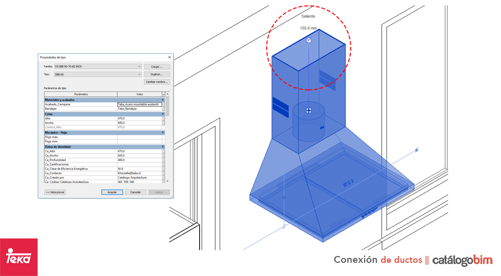 Descarga modelo de campana decorativa de Teka Modelo DBB 90-70-60 Inox en BIM, puedes encontrar modelos 3D y familias de campana decorativa de Teka parametrizables, con texturas realistas. Descarga gratis la familia de campana decorativa de Teka Modelo DBB 90-70-60 Inox para su uso BIM, descargas en formatos Revit, rfa y rvt, e IFC y librerías de materiales, pronto descargas para ArchiCAD.