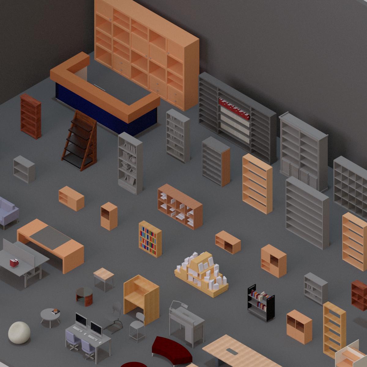 Colección de Mobiliario Biblioteca en BIM