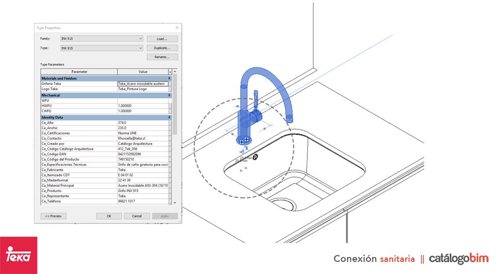Descarga modelo de Grifo para lavaplatos de cocina Teka Modelo IN-994 Eco en BIM, puedes encontrar modelos 3D y familias de grifo para lavaplatos de cocina Teka parametrizables, con texturas realistas, y conexiones de agua y alcantarillado. Descarga gratis la familia de Grifo para lavaplatos de cocina de Teka Modelo IN-994 Eco para su uso BIM, descargas en formatos Revit, rfa y rvt, e IFC y librerías de materiales, pronto descargas para ArchiCAD.