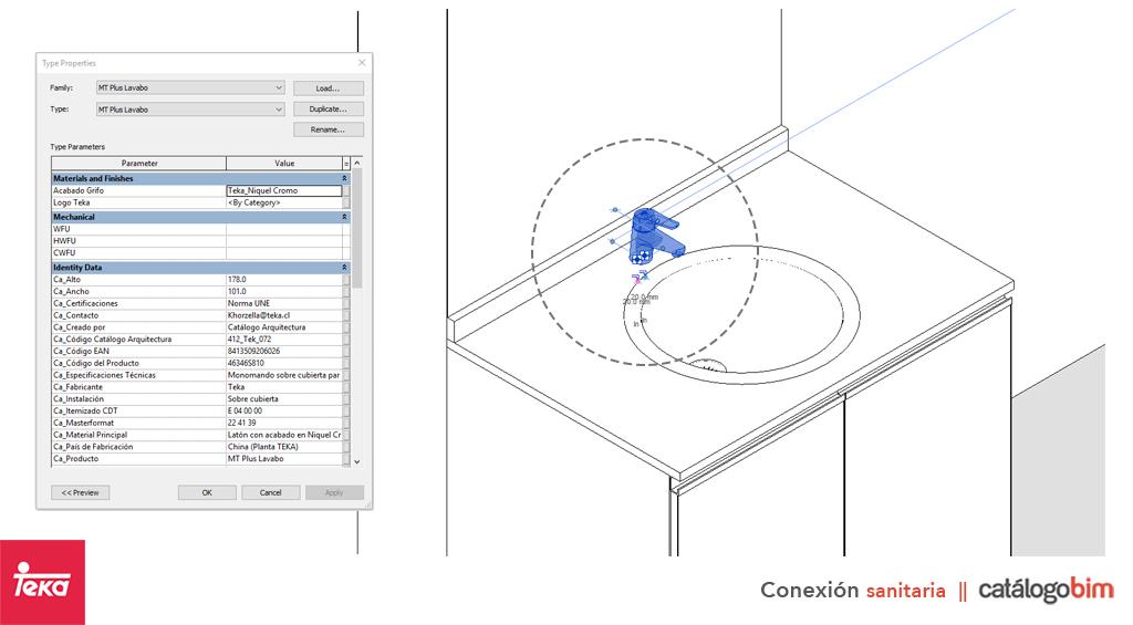 Descarga modelo de grifería para baño de Teka Modelo Calvia Lavabo en BIM, puedes encontrar modelos 3D y familias de grifos para baño de Teka parametrizables, con texturas realistas, y conexiones de agua y alcantarillado. Descarga gratis la familia de Grifo para baño de Teka Modelo Calvia Lavabo para su uso BIM, descargas en formatos Revit, rfa y rvt, e IFC y librerías de materiales, pronto descargas para ArchiCAD.