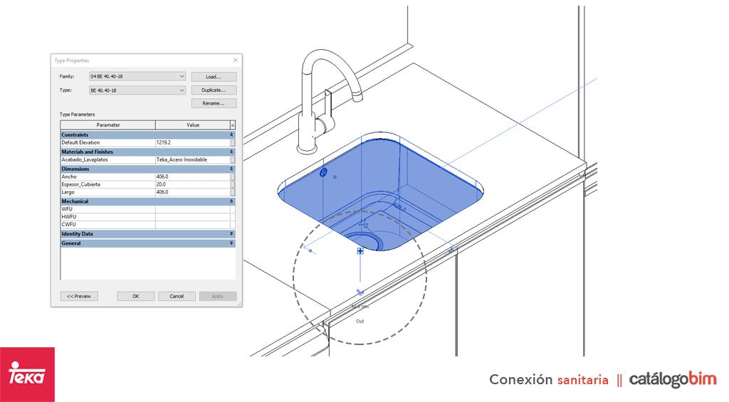 Descarga modelo de lavaplatos empotrado de Teka Modelo 800.440 1C 1E en BIM, puedes encontrar modelos 3D y familias de lavaplatos bajo encimera Teka parametrizables, con texturas realistas, y conexiones de agua y alcantarillado. Descarga gratis la familia de lavaplatos empotrado de Teka Modelo 800.440 1C 1E de Teka para su uso BIM, descargas en formatos Revit, rfa y rvt, e IFC y librerías de materiales, pronto descargas para ArchiCAD.