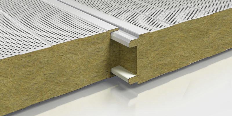 Panel acústico con núcleo de lana de roca. ADS Chile.