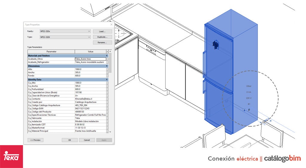 Descarga modelo de Refrigerador Integrado para mueble de cocina de Teka Modelo CI3 330NF en BIM, puedes encontrar modelos 3D y familias de refrigeradores de Teka parametrizables, con texturas realistas, y conexiones eléctricas. Descarga gratis la familia de refrigerador integrado para mueble de cocina de Teka Modelo CI3 330NF para su uso BIM, descargas en formatos Revit, rfa y rvt, e IFC y librerías de materiales, pronto descargas para ArchiCAD.