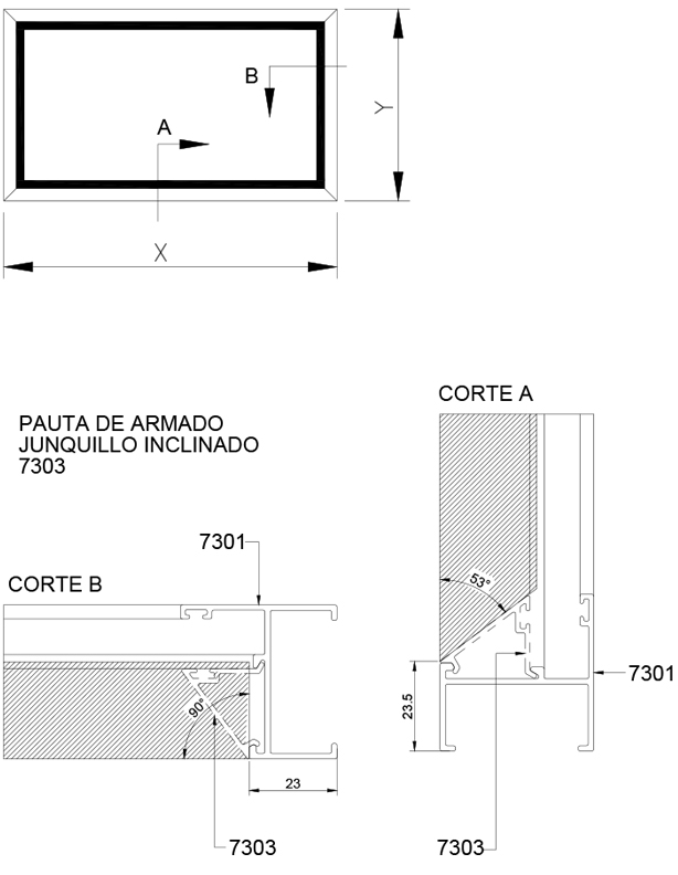 Superior 73 Ventanas de proyección, paños fijos y puertas