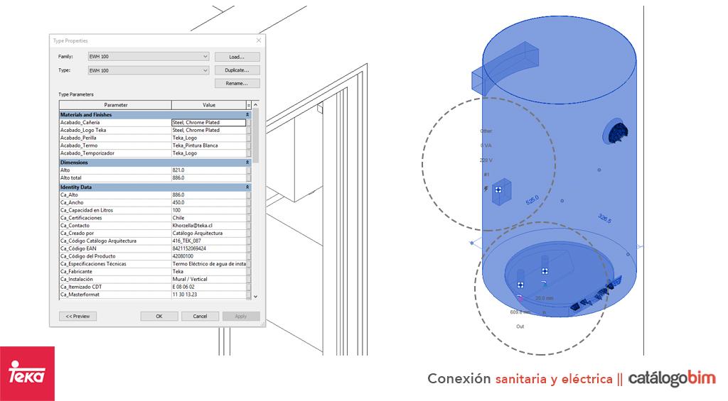 Descarga modelo de termo eléctrico de Teka Modelo EWH 100 en BIM, puedes encontrar modelos 3D y familias de lavavajillas de Teka parametrizables, con texturas realistas, y conexiones eléctricas. Descarga gratis la familia de termo eléctrico de Teka Modelo EWH 100 para su uso BIM, descargas en formatos Revit, rfa y rvt, e IFC y librerías de materiales, pronto descargas para ArchiCAD.