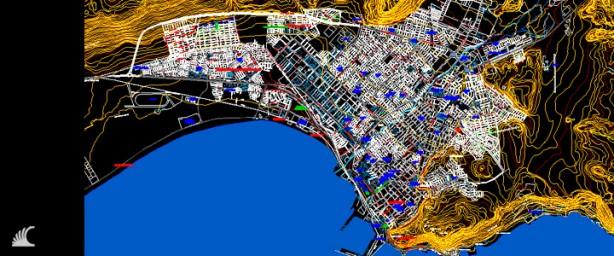 Plano de la ciudad de Arica en CAD o DWG. Incluye subdivision predial, vialidad e información geográfica en AutoCad.