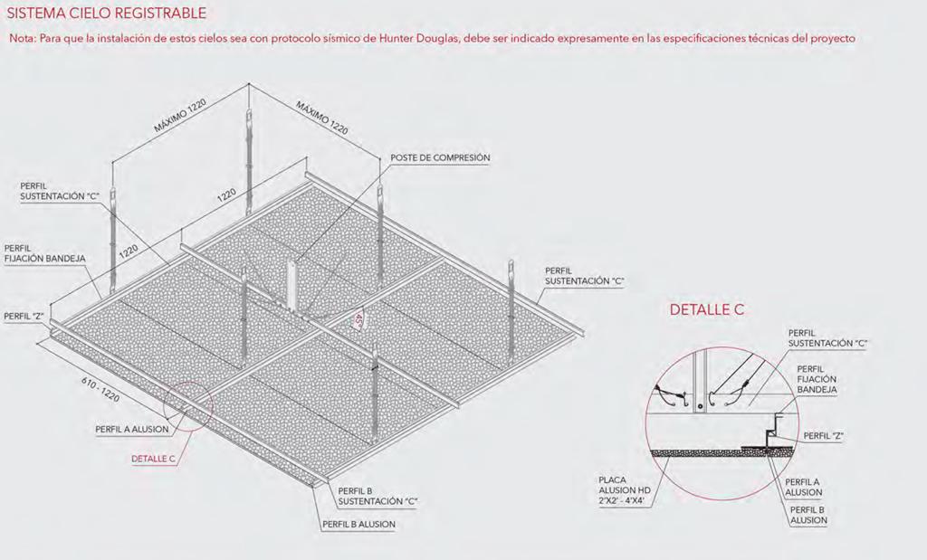 Detalle instalación Panel Alusión - Hunter Douglas