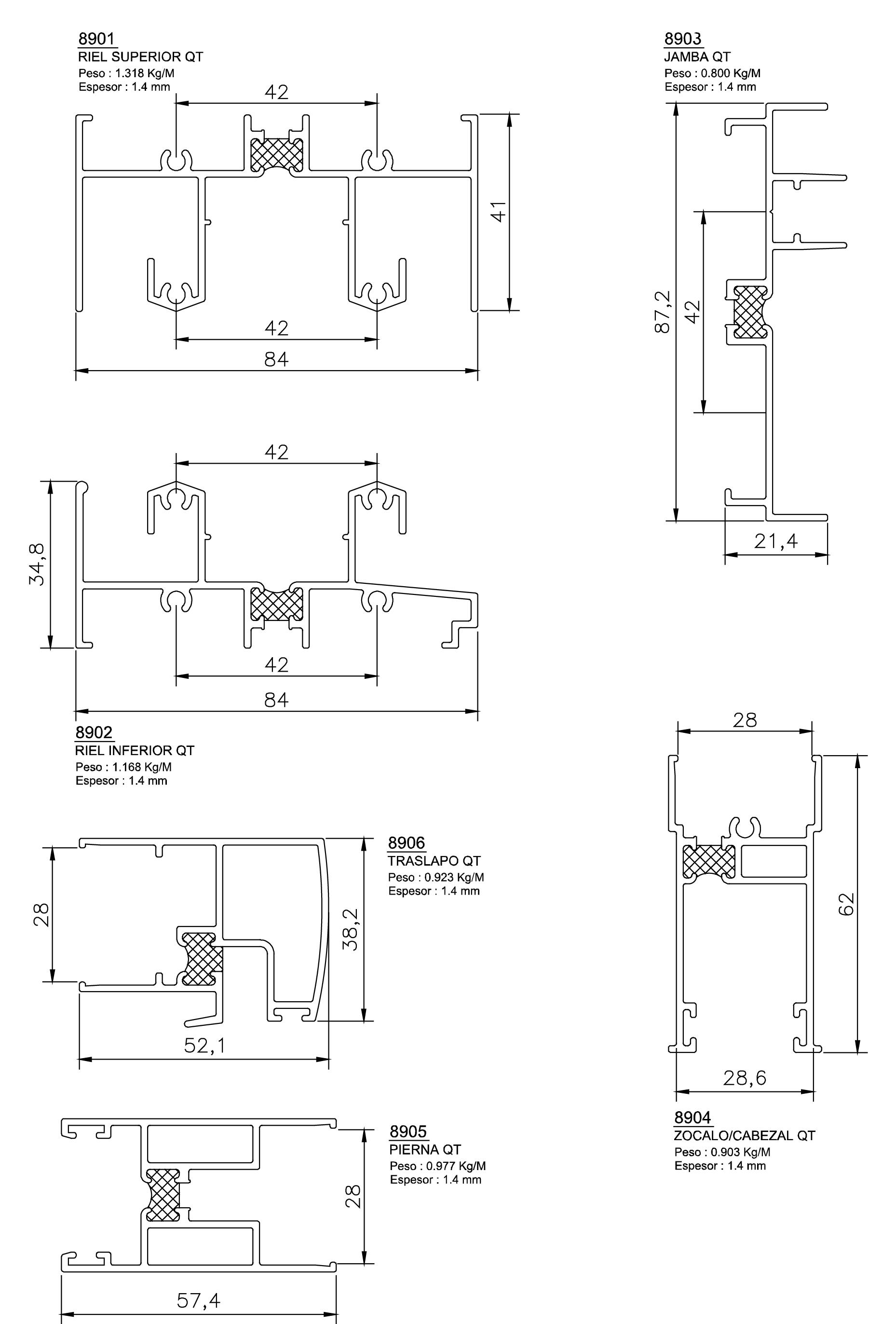 esquemas perfiles y marcos superior qt 89
