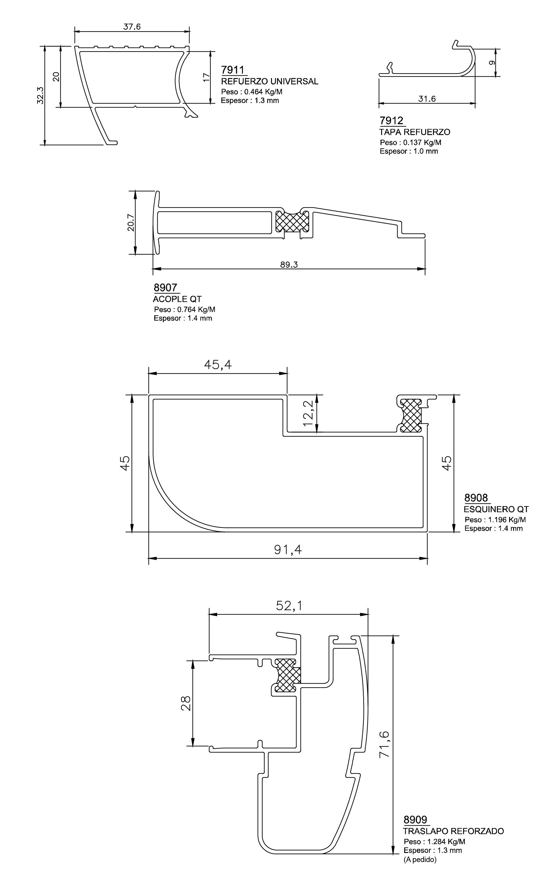 esquema 2 perfiles y marcos superior 89 qt
