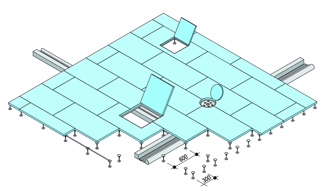esquema isometrico piso tecnico gifafloor knauf