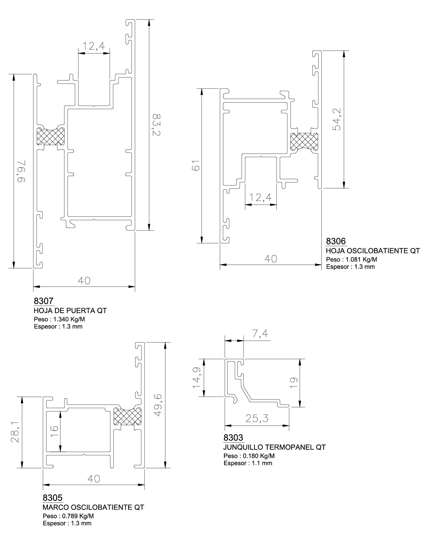 esquemas perfiles marcos y junquillos qt superior oscilobatiente