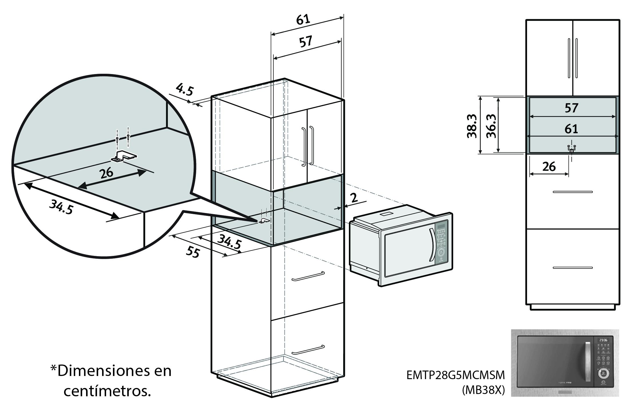 extracto recomendaciones istalacion microondas electrolux