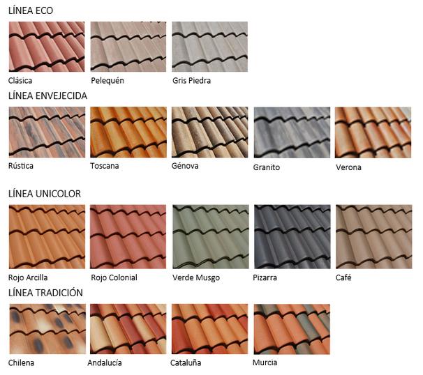 Paleta colores Tejas Hormigón Colonial