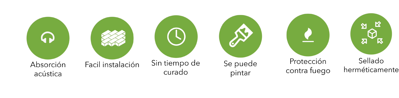 iconos ventajas producto synixtor tapon cortafuego