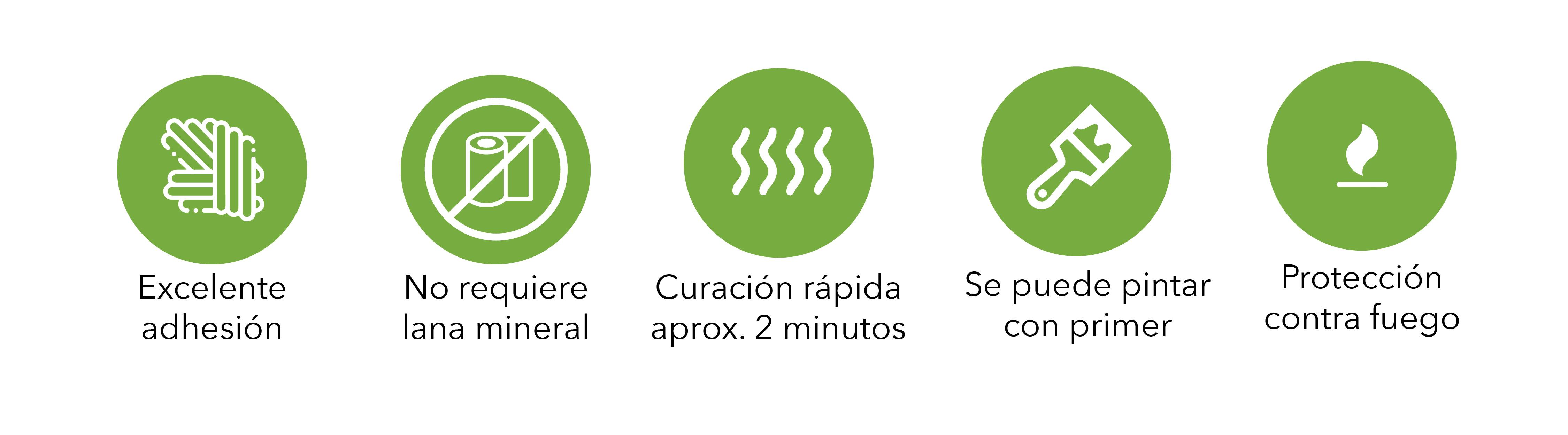 iconos ventajas espuma cortafuego