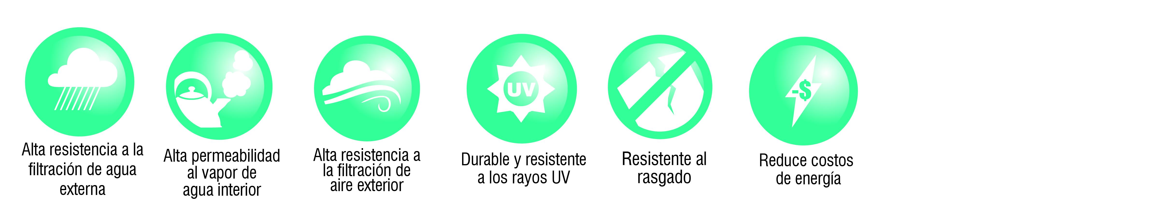 iconos ventajas volcanwrap home membrana hidrofuga