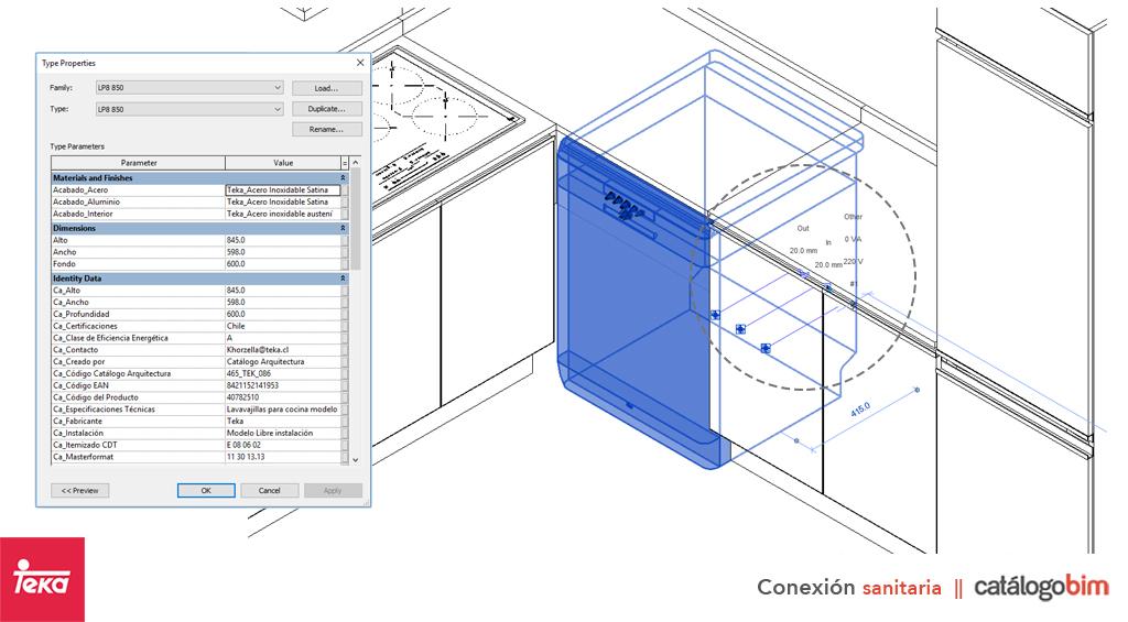 Descarga modelo de Lavavajillas para cocina de Teka Modelo LP8 850 en BIM, puedes encontrar modelos 3D y familias de lavavajillas de Teka parametrizables, con texturas realistas, y conexiones eléctricas. Descarga gratis la familia de lavavajillas para cocina de Teka Modelo LP8 850 para su uso BIM, descargas en formatos Revit, rfa y rvt, e IFC y librerías de materiales, pronto descargas para ArchiCAD.