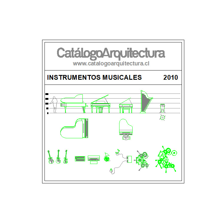 bloque-de-instrumentos-musicales-dwg-cad
