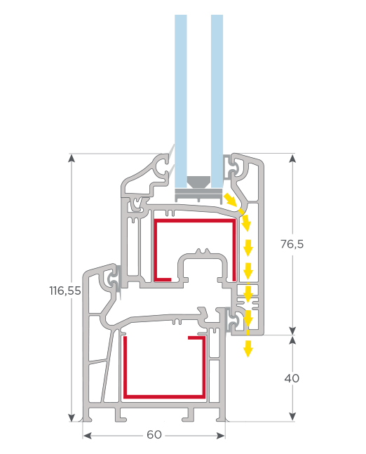 Perfil PVC -S 60 ventana