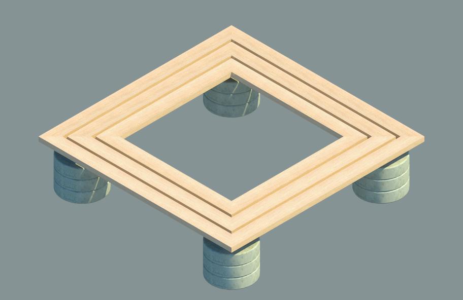 Asiento parque rectangular base hormigón