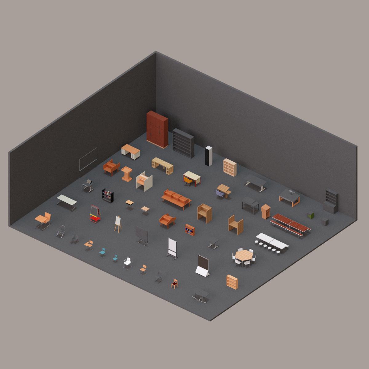 Colección Mobiliario Educacional en BIM