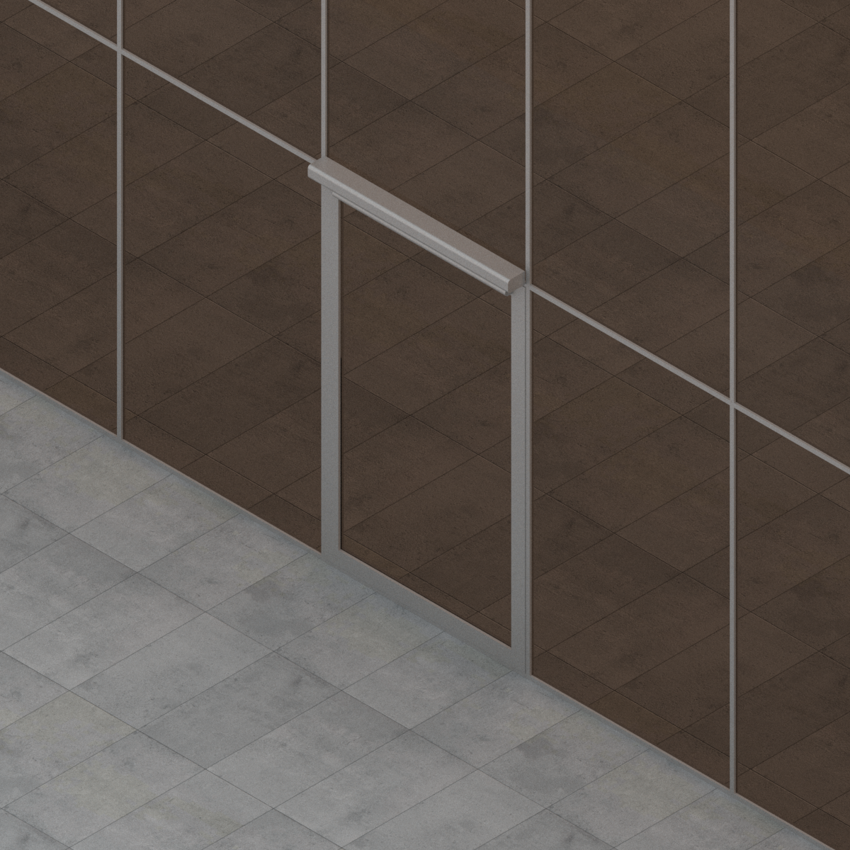 Puerta Batiente de 1 Hoja para Muro Cortina de G-U en BIM
