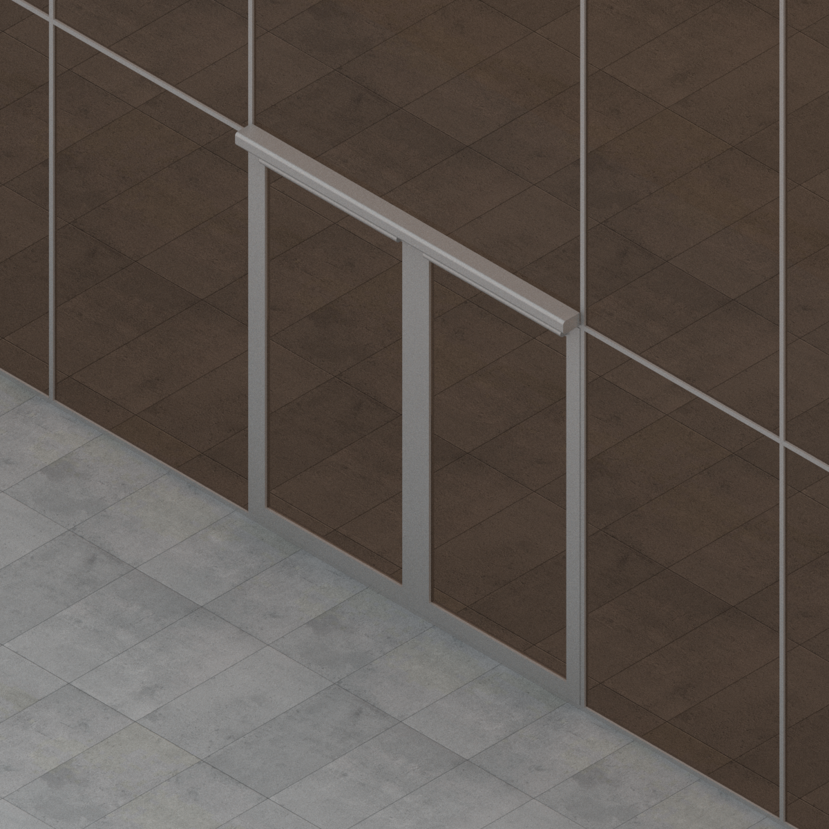 Puerta Batiente de 2 Hojas para Muro Cortina de G-U en BIM
