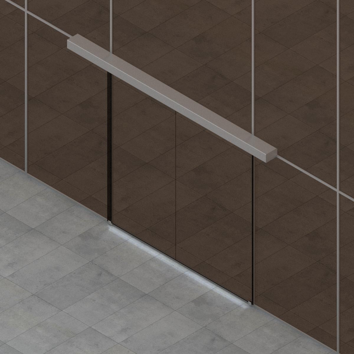 Puerta Deslizante 2 Hoja para Muro cortina de G-U en BIM