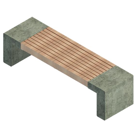 Mobiliario urbano madera hormigón simple