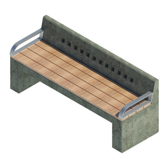 Mobiliario urbano madera hormigón simple con apoyo