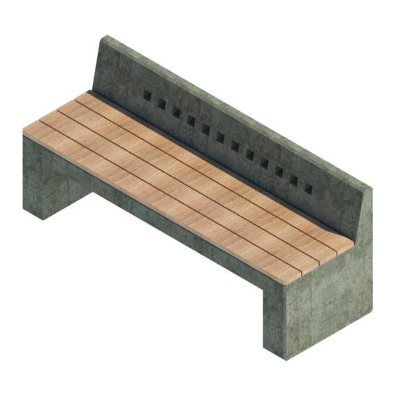 Asiento urbano madera hormigón simple