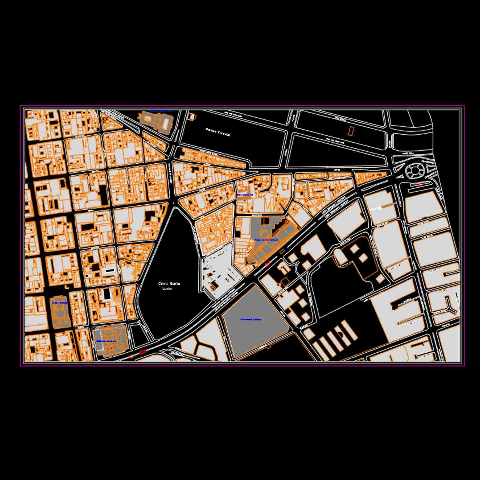 Plano: Barrio Lastarria / Nolli
