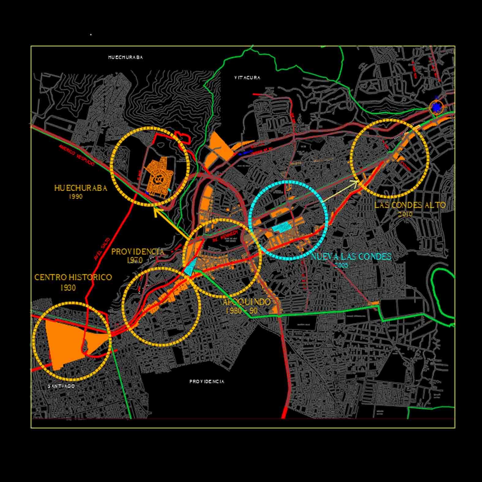 Plano: Región Metropolitana / Expansión Económica de Santiago Intercomunal (1930-2010)