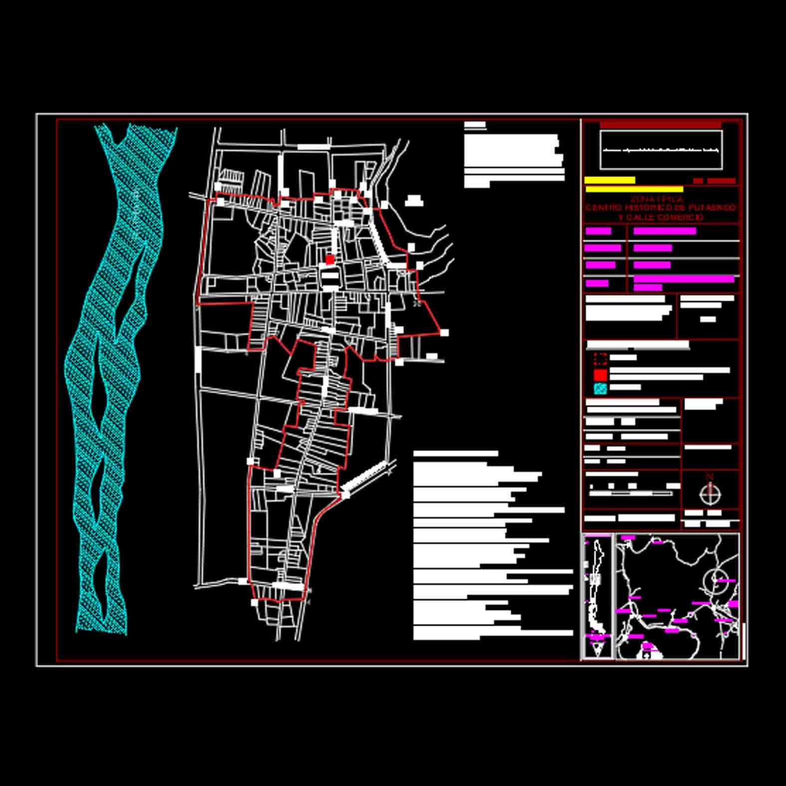 Plano: Calle Comercio de Putaendo / Zona Típica