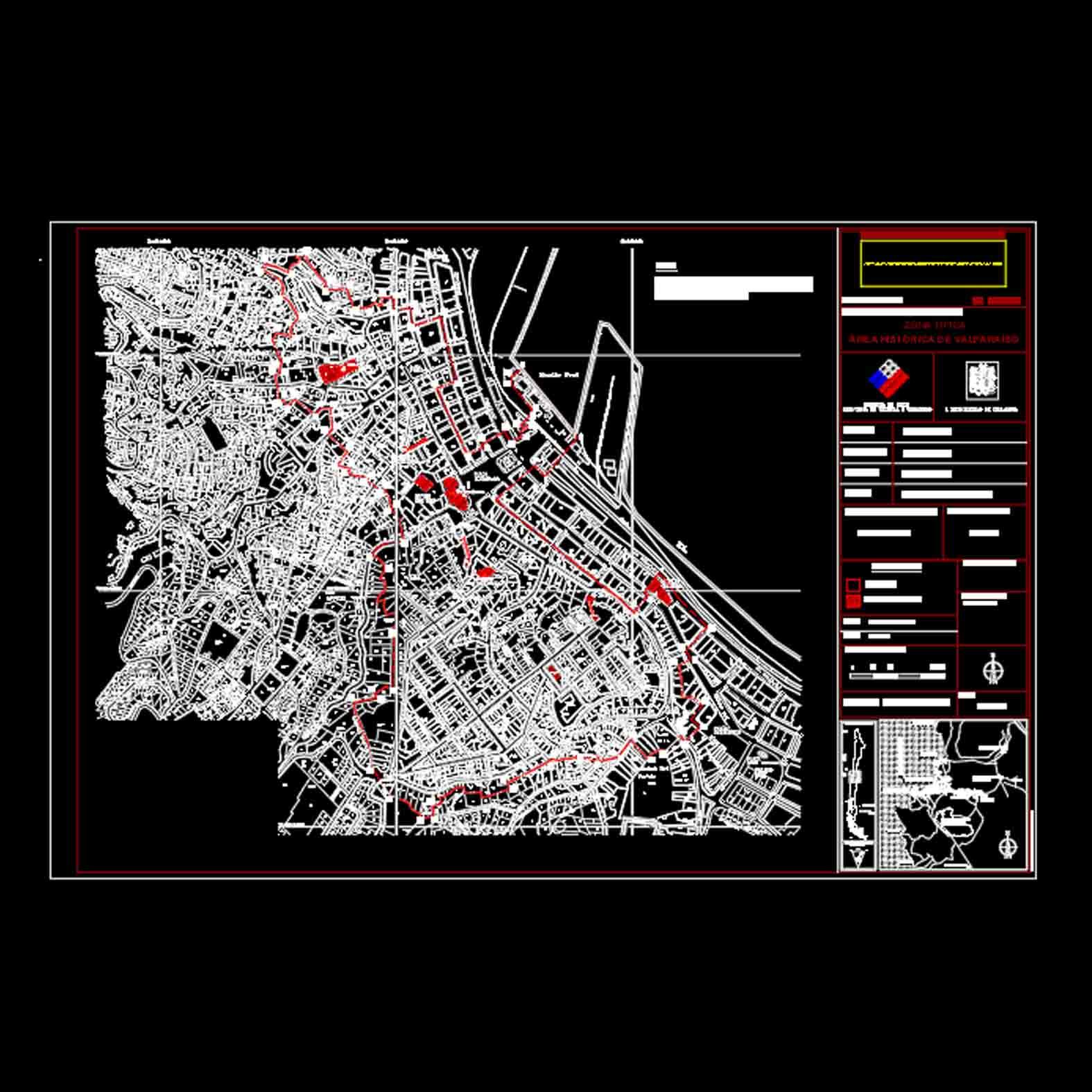 Plano: Área Histórica de Valparaíso / Zona Típica
