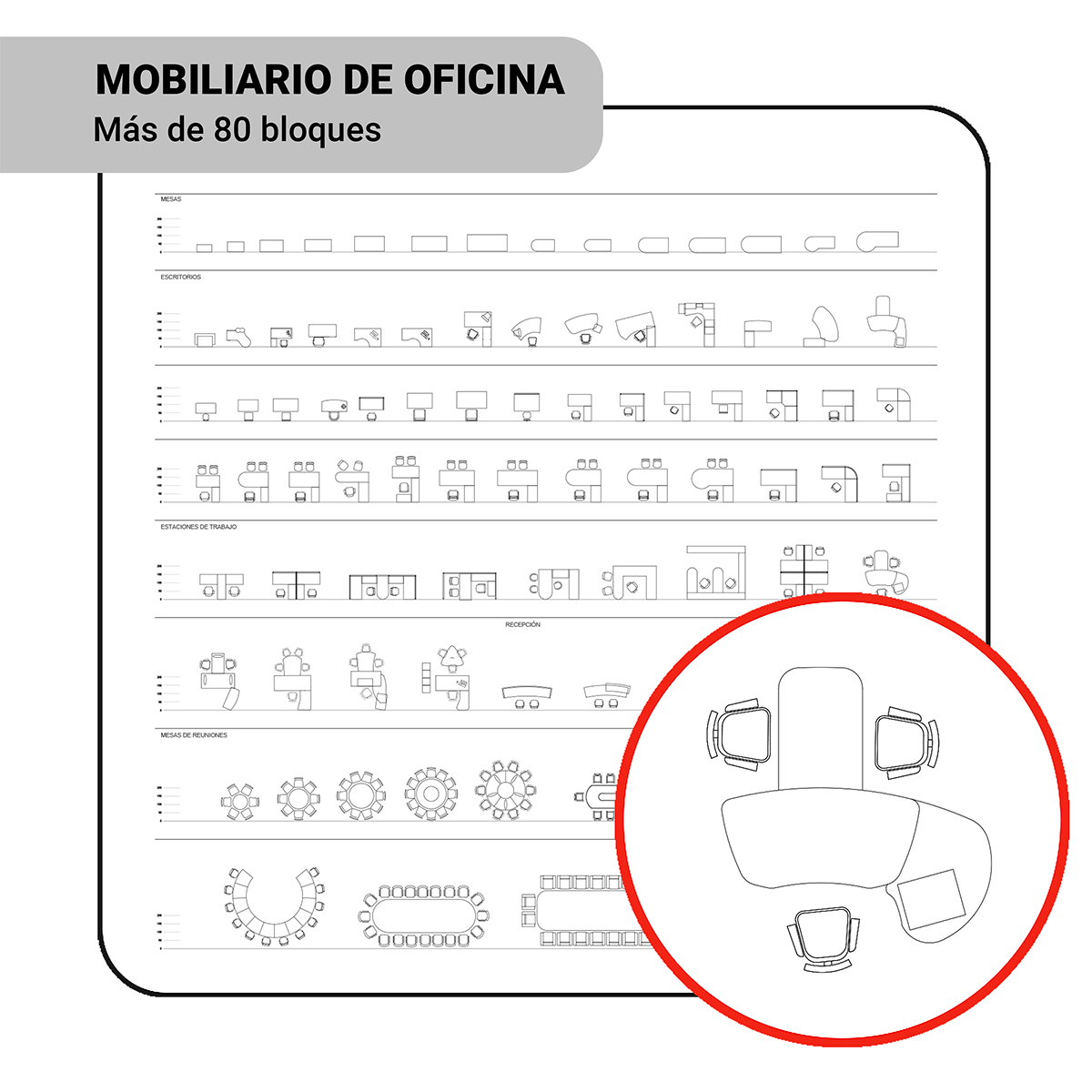 Bloques: Mobiliario de Oficina