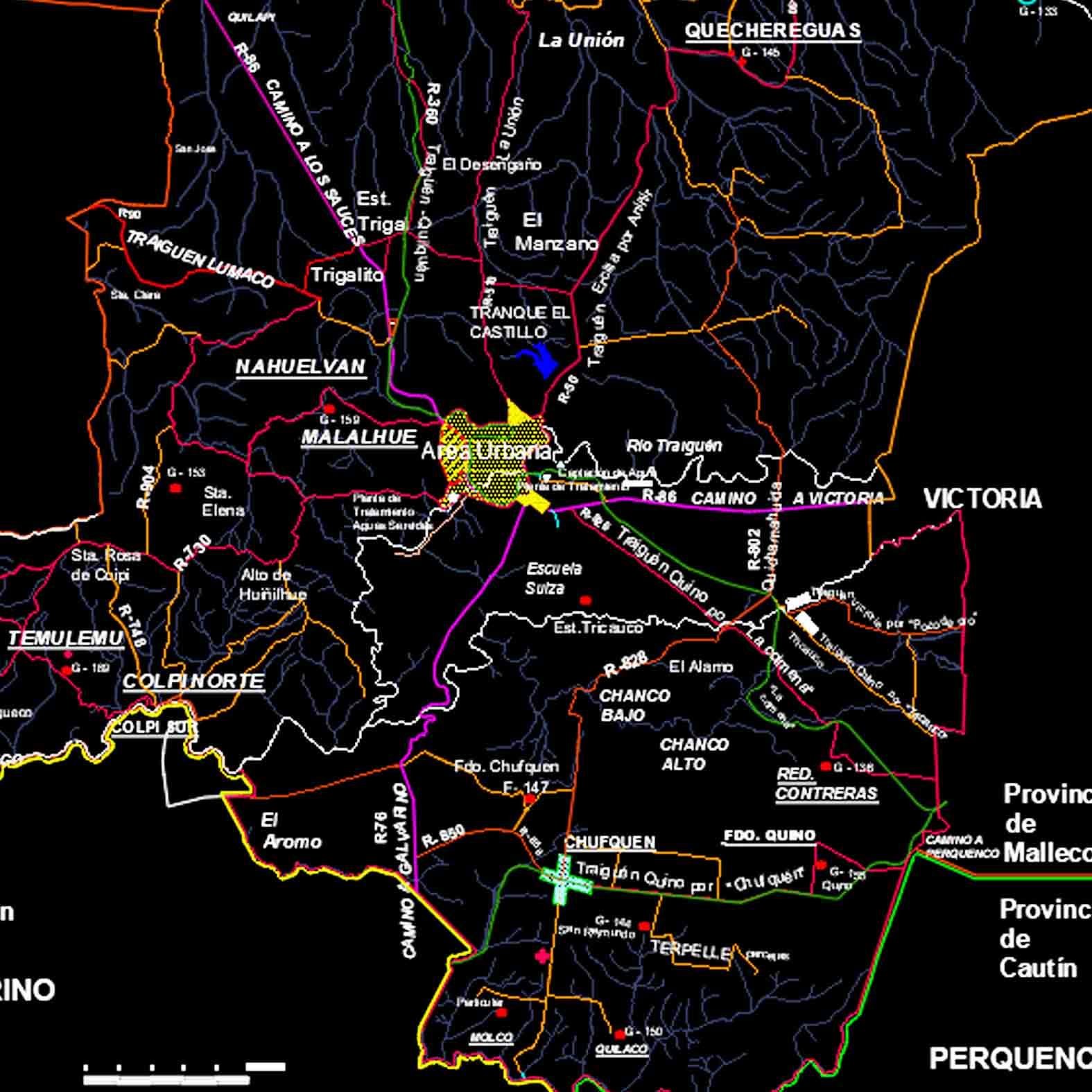 Plano: Comuna de Traiguén