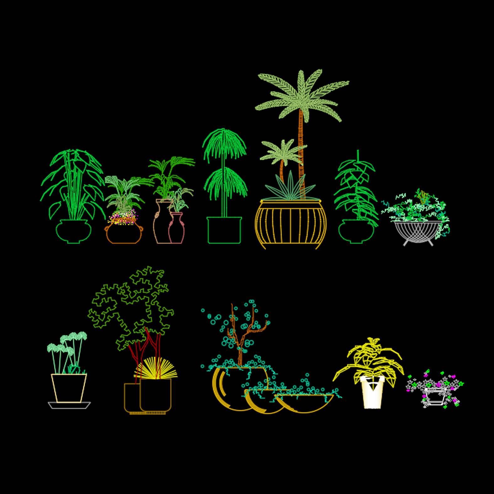 Bloques: Plantas en Maceteros