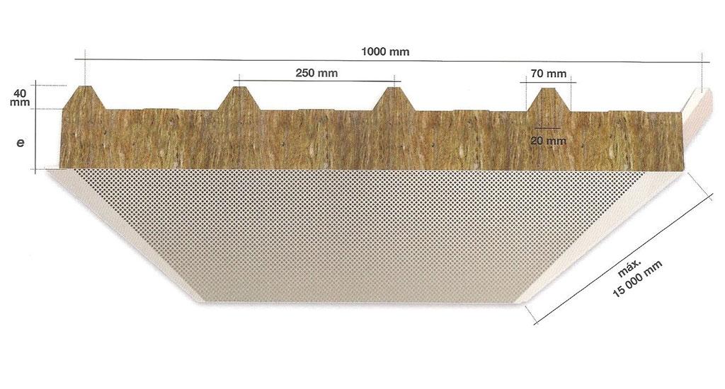 Panel Sándwich de Lana de Roca FTB PC 1000 Acústico