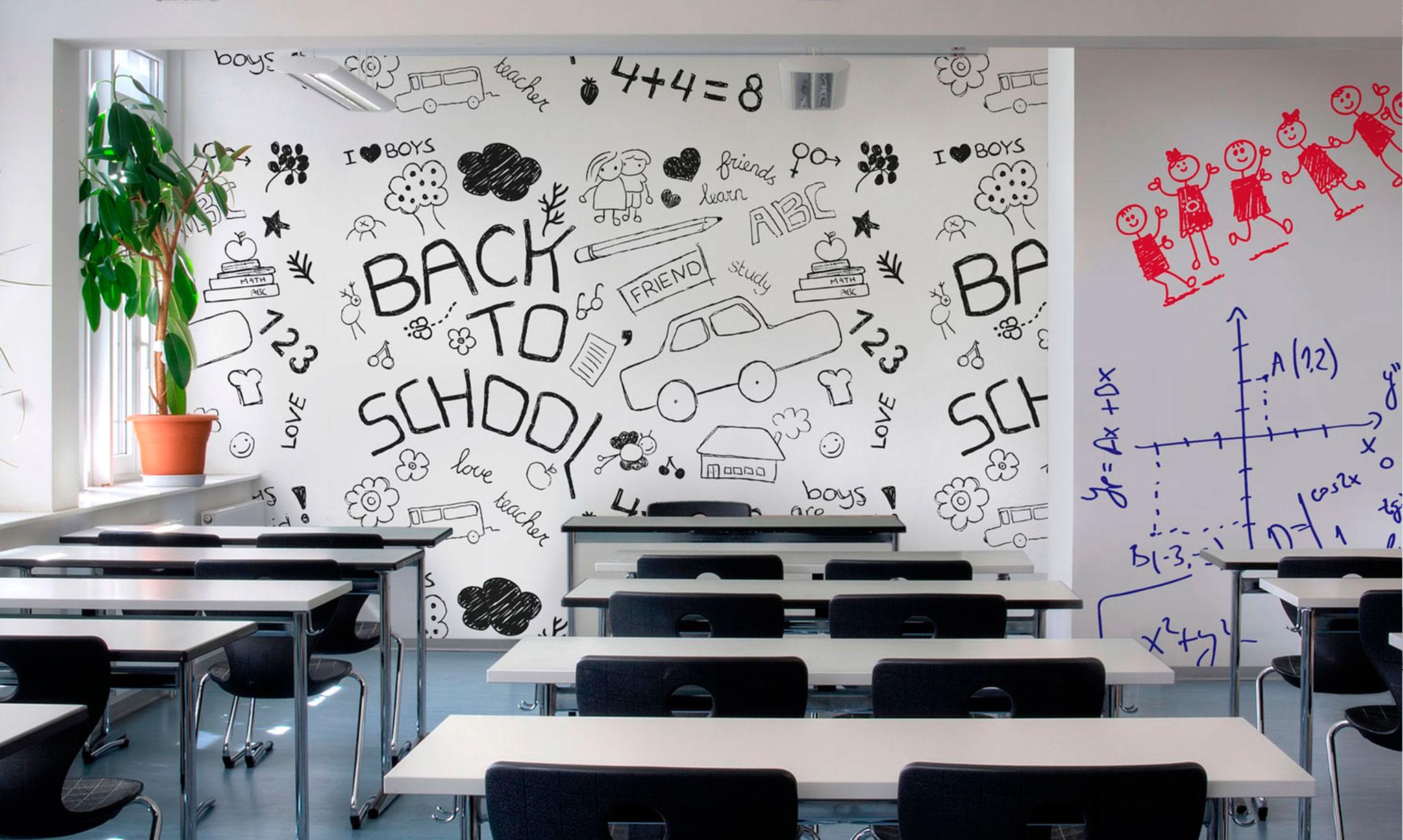 Pintura de borrado en seco para espacios educacionales